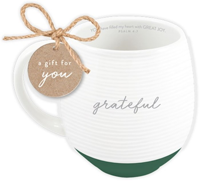Ceramic Mug-Textured-White-Grateful | SHOPtheWORD