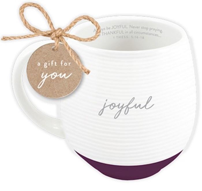 Ceramic Mug-Textured-White-Joyful | SHOPtheWORD