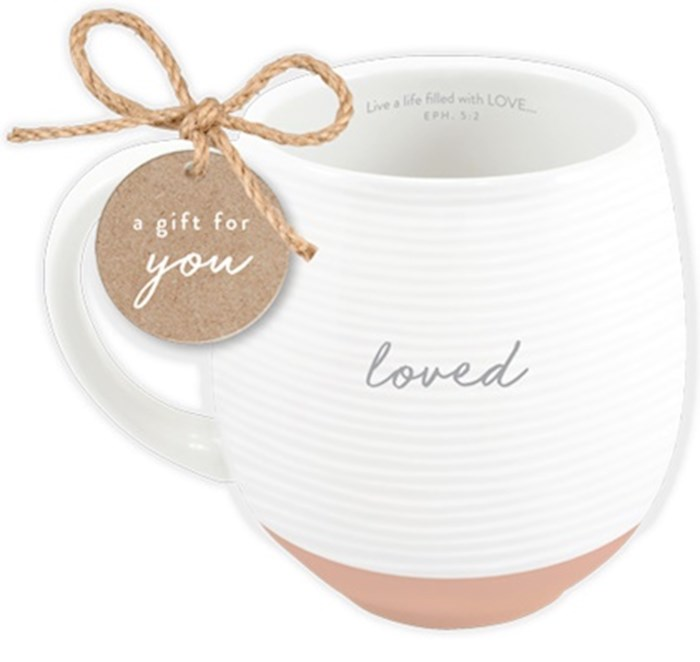 Ceramic Mug-Textured-White-Loved | SHOPtheWORD