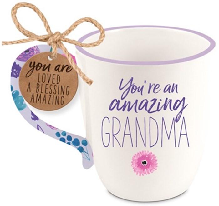 Ceramic Mug-Touch of Floral-Amazing Grandma | SHOPtheWORD