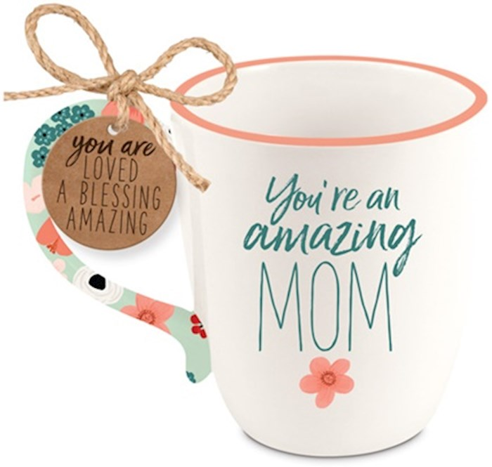 Ceramic Mug-Touch of Floral-Amazing Mom | SHOPtheWORD
