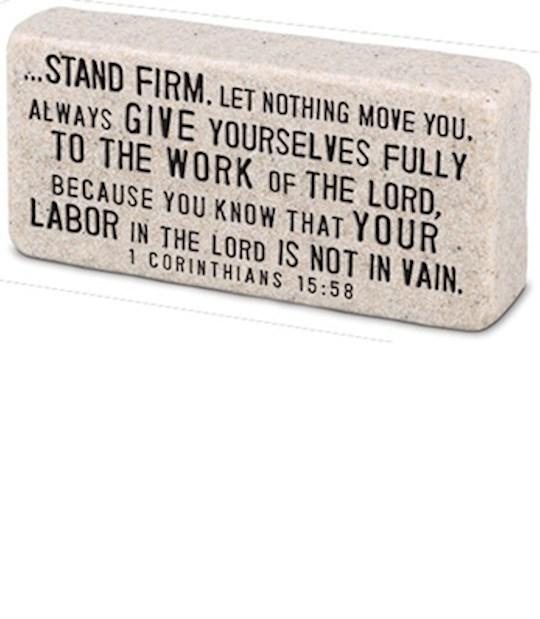 Plaque-Cast Stone-Scripture Block-Stand Firm (4 x 2 x 1) | SHOPtheWORD