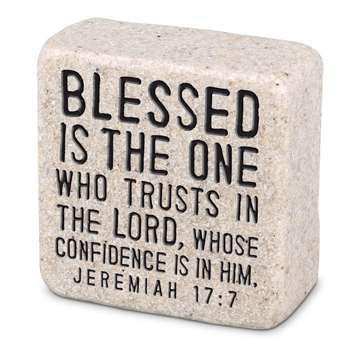 Plaque-Cast Stone-Scripture Stone-Blessed (2.25 x 2.25 x 1) | SHOPtheWORD