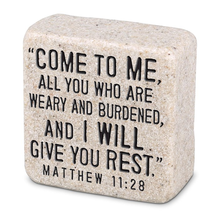 Plaque-Cast Stone-Scripture Stone-Come To Me (2.25 x 2.25 x 1) | SHOPtheWORD