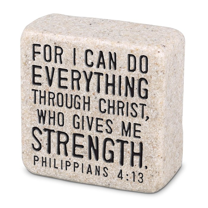 Plaque-Cast Stone-Scripture Stone-Everything Through Christ (2.25 x 2.25 x 1) | SHOPtheWORD