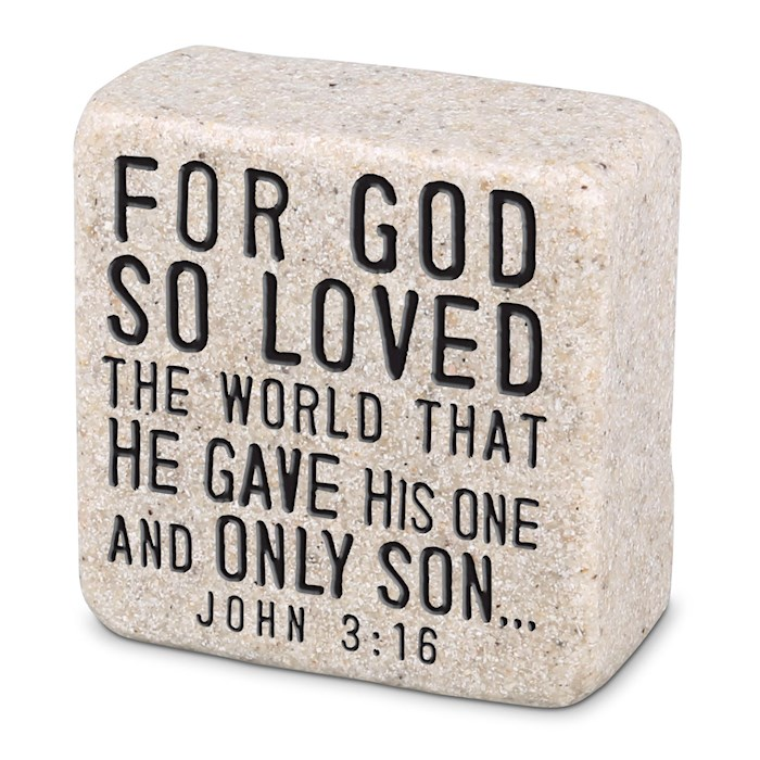 Plaque-Cast Stone-Scripture Stone-God's Love (2.25 x 2.25 x 1) | SHOPtheWORD