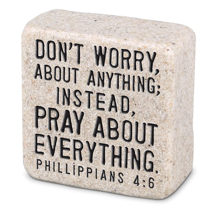 Plaque-Cast Stone-Scripture Stone-Pray (2.25 x 2.25 x 1) | SHOPtheWORD