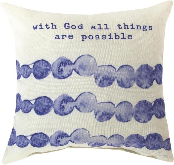 """Pillow-With God All Things Are Possible (12"""" x 12"""") 
