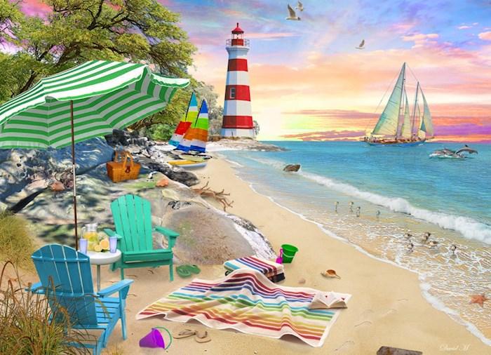 Jigsaw Puzzle-Seaside Beach (1000 Pieces)   SHOPtheWORD