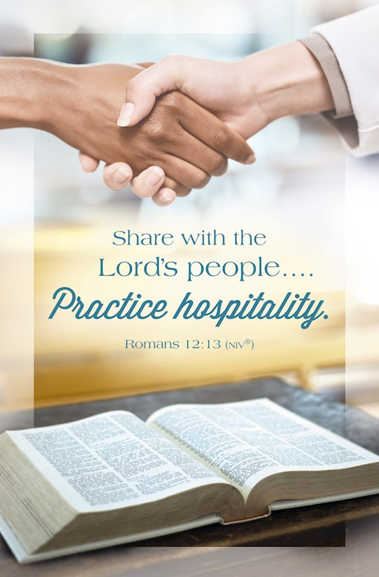 Bulletin-Share With The Lord's People.... Practice Hospitality. (Romans 12:13, NIV) (Pack Of 100) | SHOPtheWORD