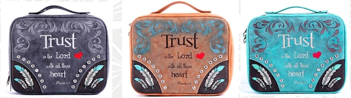 Bible Cover-Trust In The Lord With All Thine Heart (Proverbs 3:5)-Turquoise | SHOPtheWORD