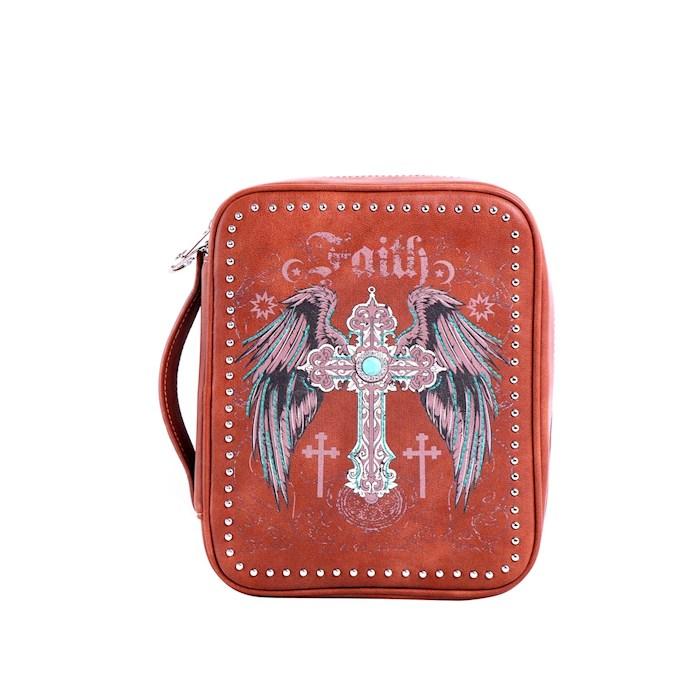 Bible Cover-Faith w/Wings & Cross-Brown   SHOPtheWORD