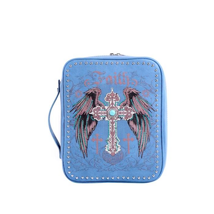 Bible Cover-Faith w/Wings & Cross-Blue   SHOPtheWORD