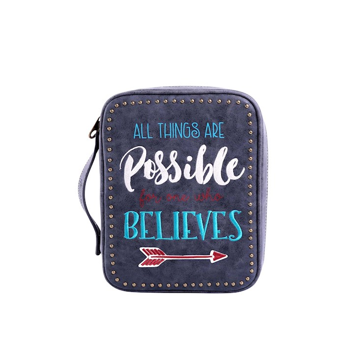 Bible Cover-All Things Are Possible For One Who Believes w/Arrow-Black | SHOPtheWORD