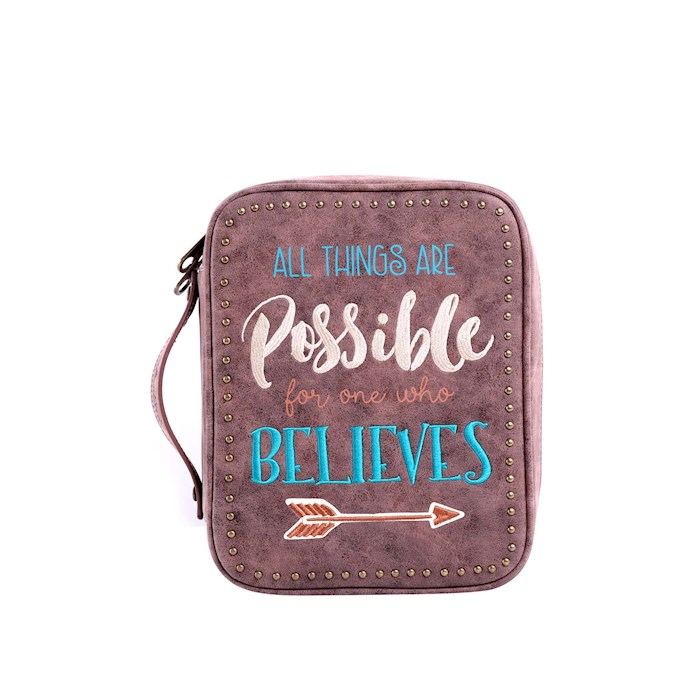 Bible Cover-All Things Are Possible For One Who Believes w/Arrow-Coffee | SHOPtheWORD