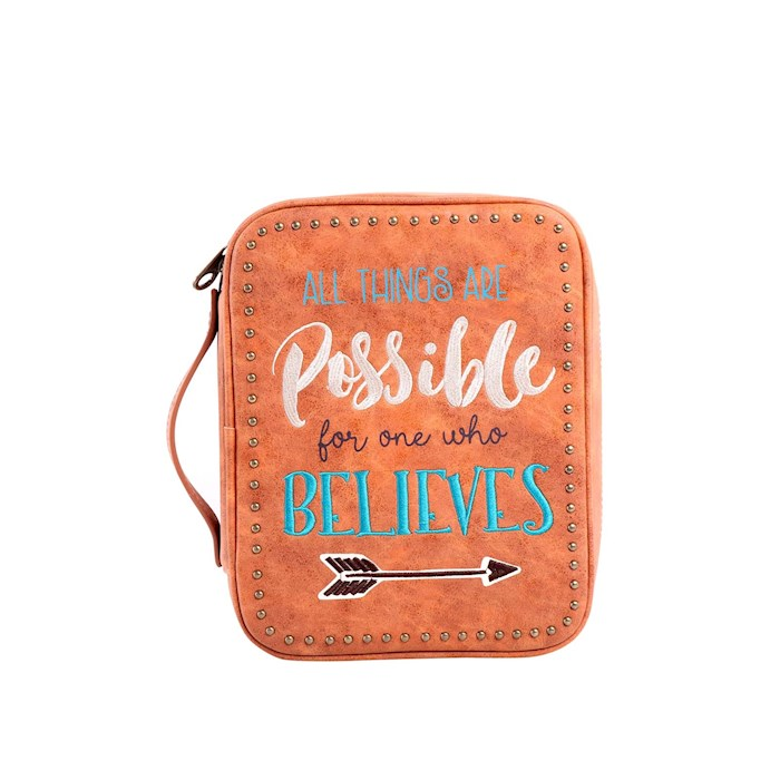 Bible Cover-All Things Are Possible For One Who Believes w/Arrow-Brown | SHOPtheWORD