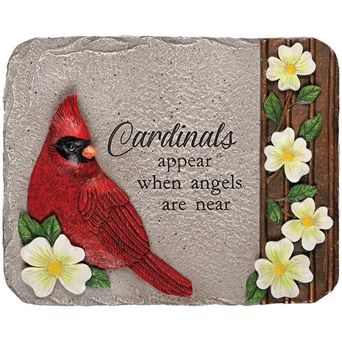 "Garden Stone-Cardinals Appear When Angels Are Near (8.25"" x 10.5"") 