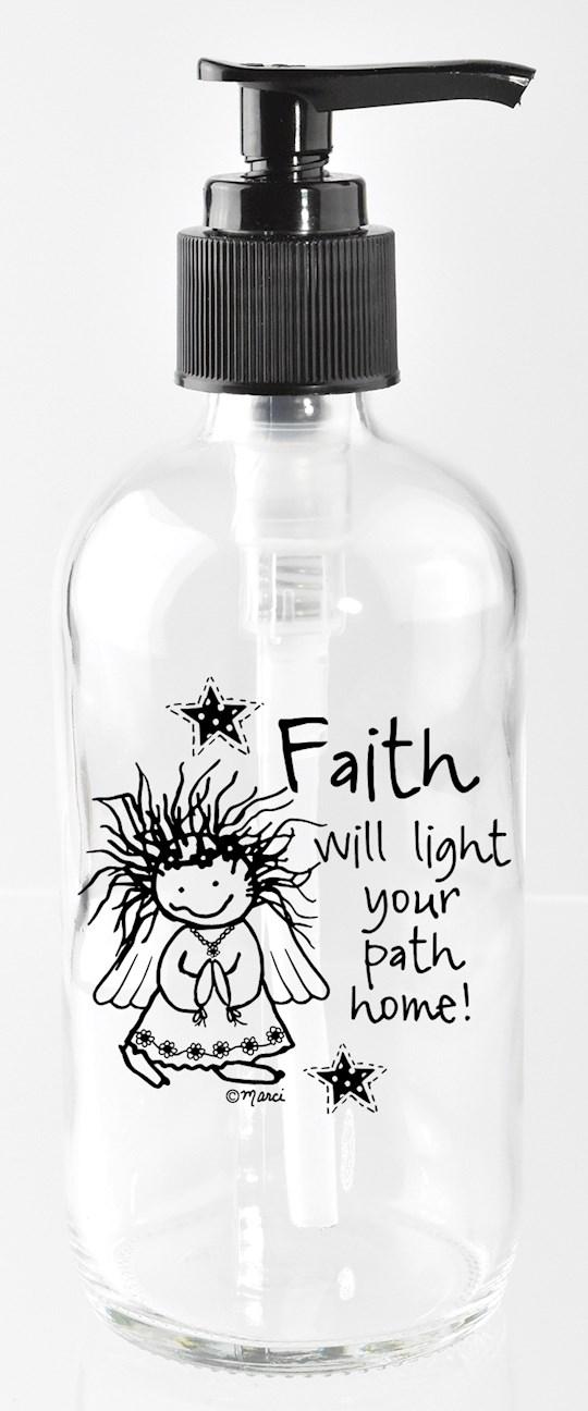 Soap Dispenser-Marci Art-Faith Will Light Your (8 Oz)   SHOPtheWORD