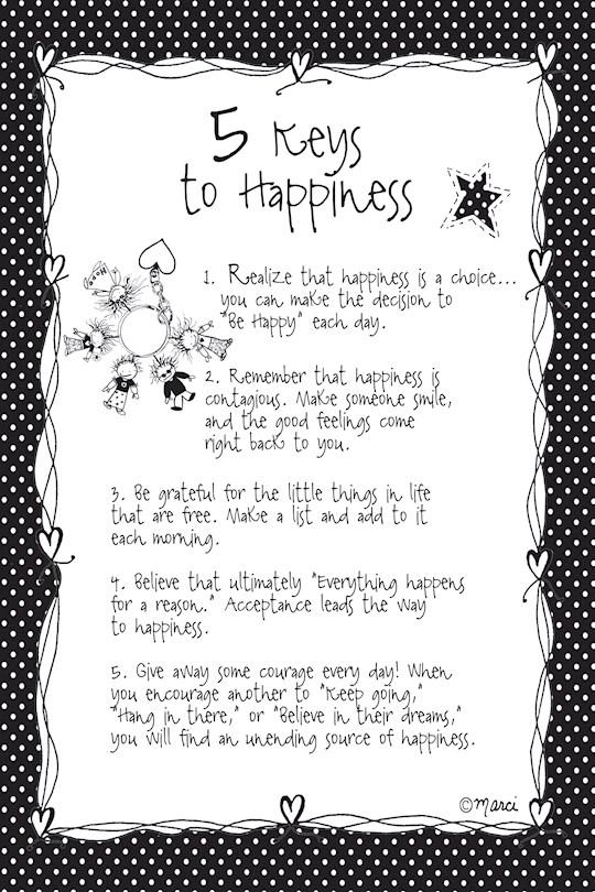 "Plaque-Marci Art-5 Keys To Happiness (6"" x 9"")  | SHOPtheWORD"