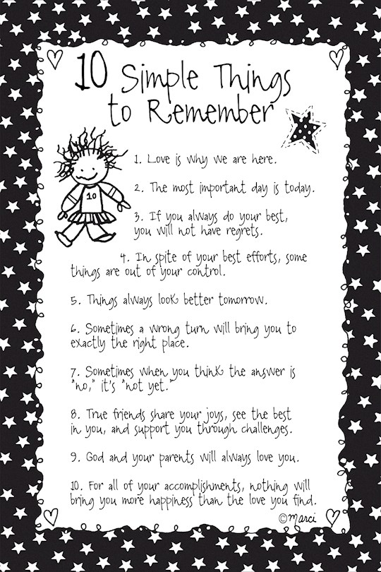 "Plaque-Marci Art-10 Simple Things To Remember (6"" x 9"")  