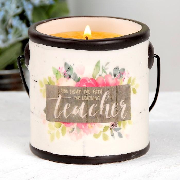 "Crock Candle-Teacher/Spiced Georgia Peach (3"" x 3.25"") | SHOPtheWORD"