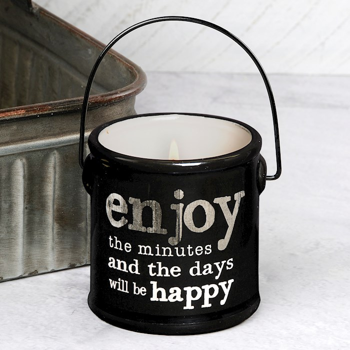 """Crock Candle-Enjoy The Minute/Buttered Maple Syrup (3"""" x 3.25"""") 