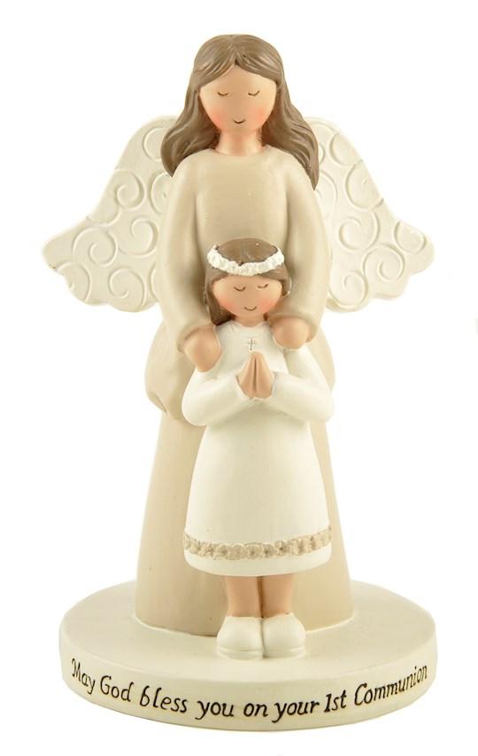 "Figurine-First Communion Girl w/Angel On Base (2.5"" x 4"") | SHOPtheWORD"