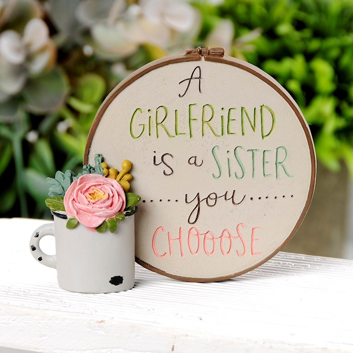 """Plaque w/Plant-A Girlfriend Is A Sister (3.5"""" x 3.25"""") 