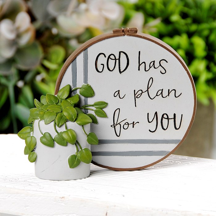 "Plaque w/Plant-God Has A Plan For You (3.75"" x 3.25"") 
