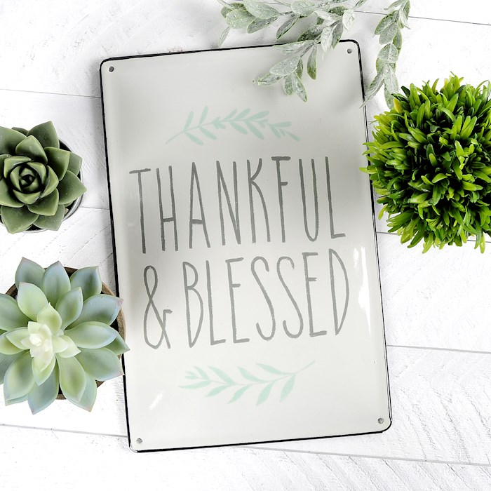 "Enamel Sign-Thankful & Blessed (8"" x 11.75"") 