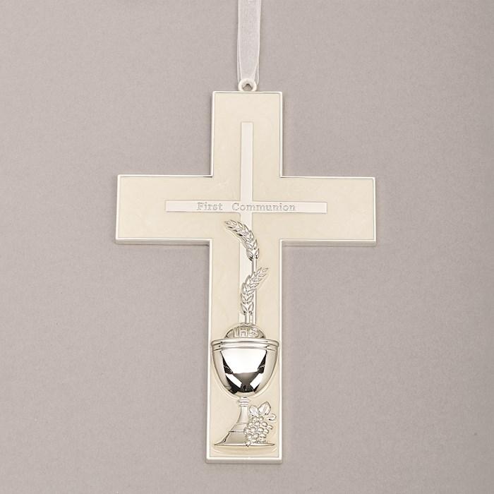 "Wall Cross-First Communion w/Cross/Wheat & Chalice (7"") | SHOPtheWORD"
