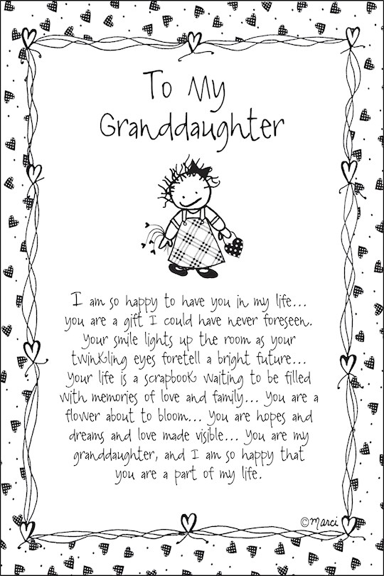 """Plaque-Marci Art-To My Granddaughter (6"""" x 9"""")  