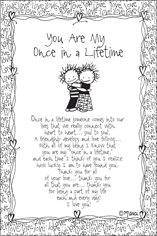 """Plaque-Marci Art-You Are My Once In A Lifetime (6"""" x 9"""")  