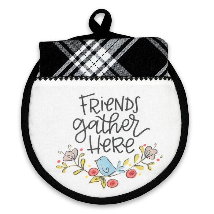 Hot Pad & Tea Towel Set-Friends Gather Here | SHOPtheWORD