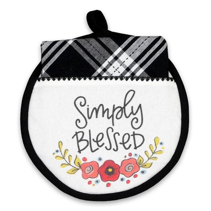 Hot Pad & Tea Towel Set-Simply Blessed | SHOPtheWORD